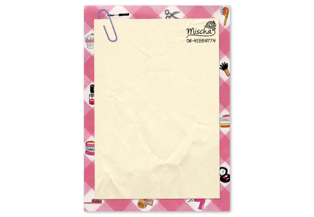 Grafisch vormgever voor Mischa Peters | briefpapier