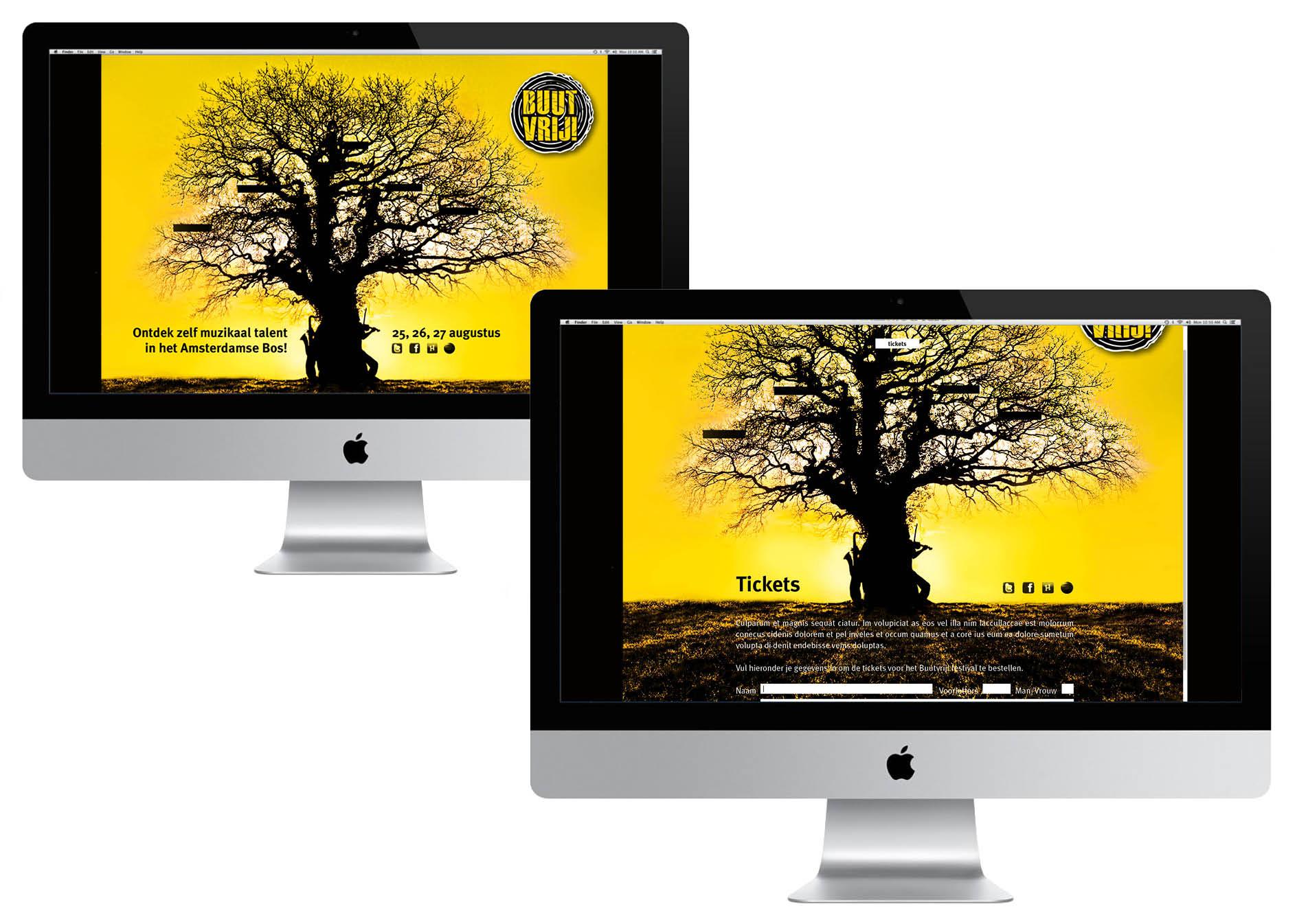 Creayv grafische vormgeving en dtp website Buutvrij-festival voor avondopleiding art direction