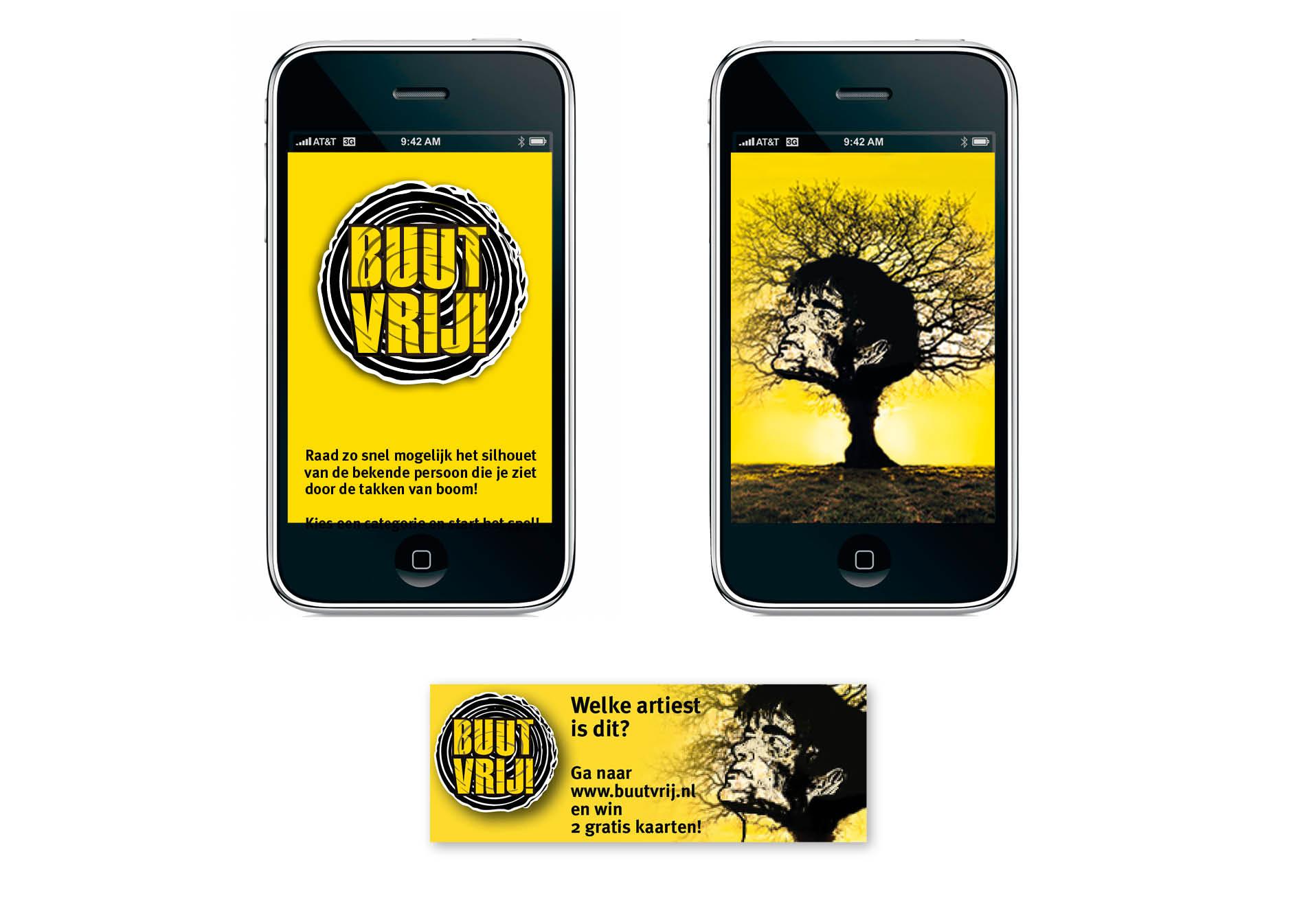 Creayv grafische vormgeving en dtp app en webbanner Buutvrij-festival voor avondopleiding art direction