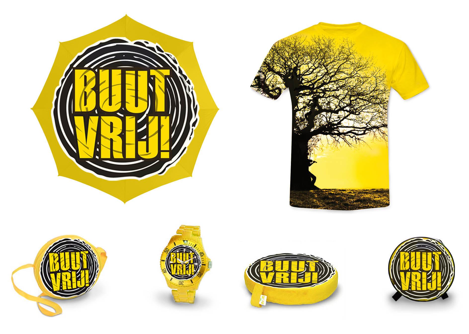 Creayv grafische vormgeving en dtp merchandise artikelen Buutvrij-festival voor avondopleiding art direction