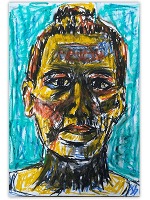 Creayv zelfportret tijdschriftscheursels fase 1