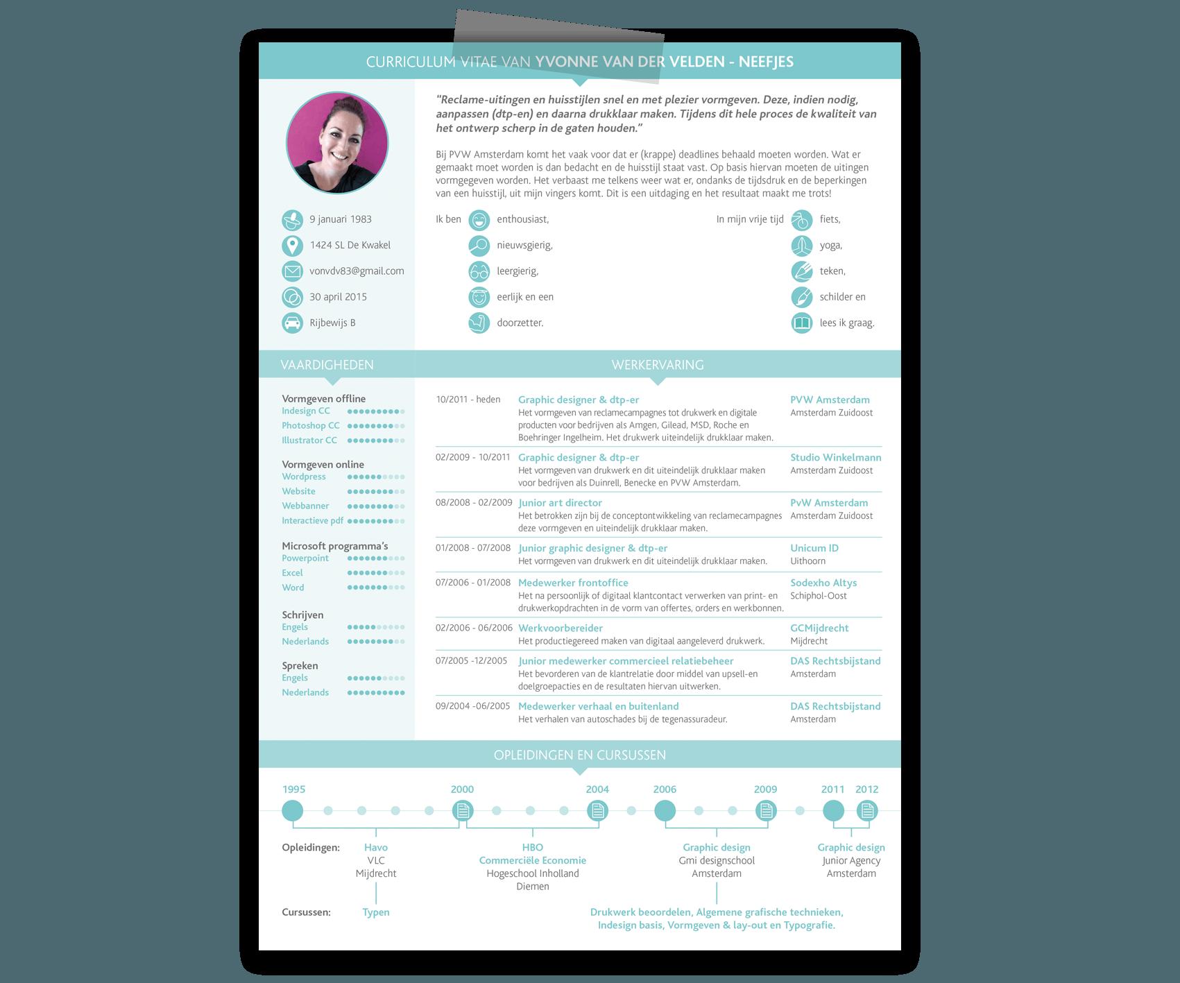 Curriculum Vitae van Yvonne van der Velden-Neefjes