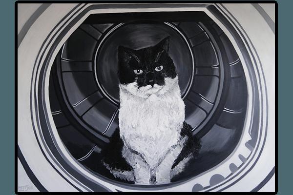Creayv andere creaties schilderij kat in de wasmachine