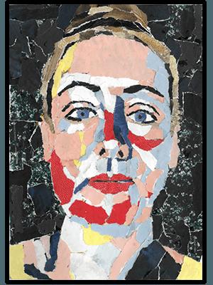 Creayv andere creaties zelfportret uit tijdschriftscheursels