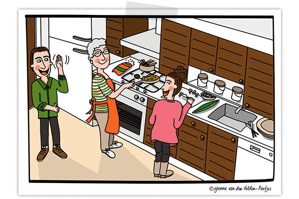 Creayv illustratie koken met oma
