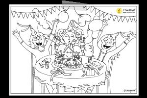 Creayv kleurplaat verjaardag voor Thuisfuif taartmoment