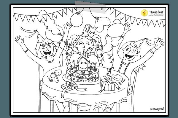 Creayv kleurplaat verjaardagsfeestje voor Thuisfuif