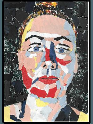 Creayv zelfportret tijdschriftscheursels fase 3