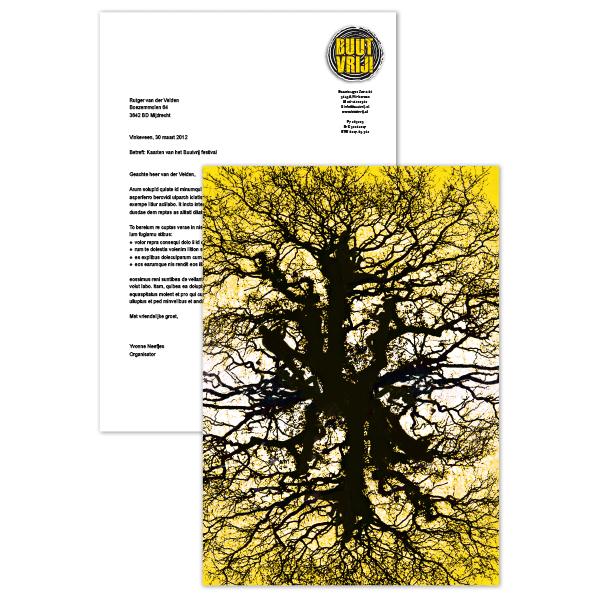 Briefpapier Buutvrij festival met geel en zwart
