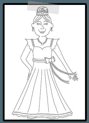 Creayv kleurplaat voor Thuisfuif prinses
