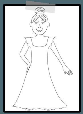 Creayv prinsessenkleurplaat voor Thuisfuif prinses in onderjurk