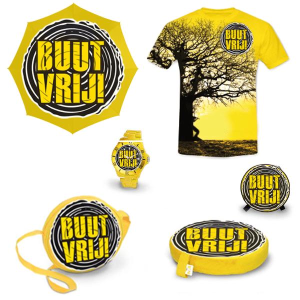 Merchandise artikelen Buutvrij festival met geel en zwart