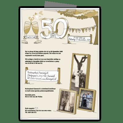 Creayv uitnodiging 50 jarig huwelijk Rob en Cobi