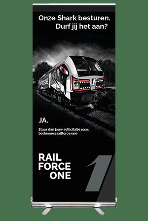 Creayv grafische vormgeving en dtp roll-up Rail Force One