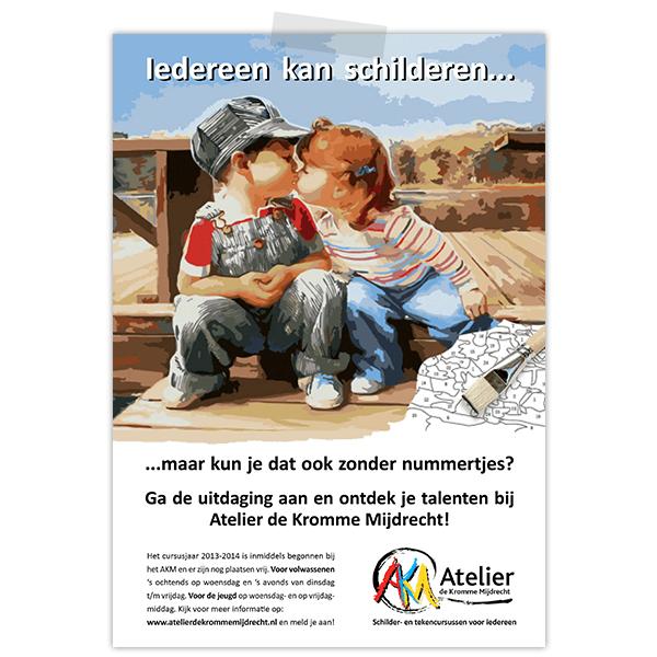 Advertentie voor atelier de kromme mijdrecht met geschilderde kussende kindjes