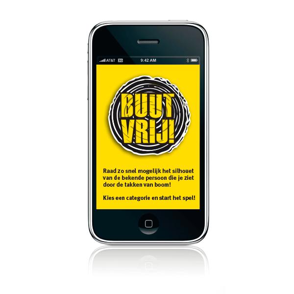 App buutvrij festival in geel en zwart met artiesten in boom verstopt