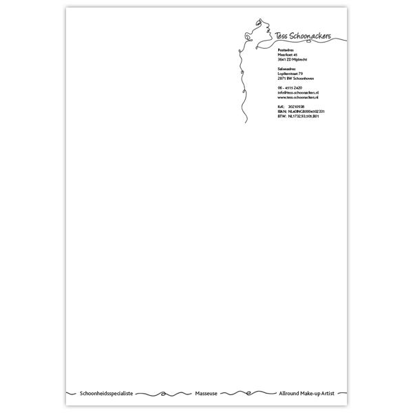 Briefpapier schoonheidssalon Tess Schoonackers