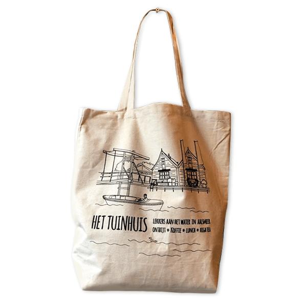Illustatie van lunchroom Het Tuinhuis Aalsmeer op een shopper