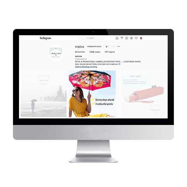 Instagram social media banner Impliva personal parasol roze