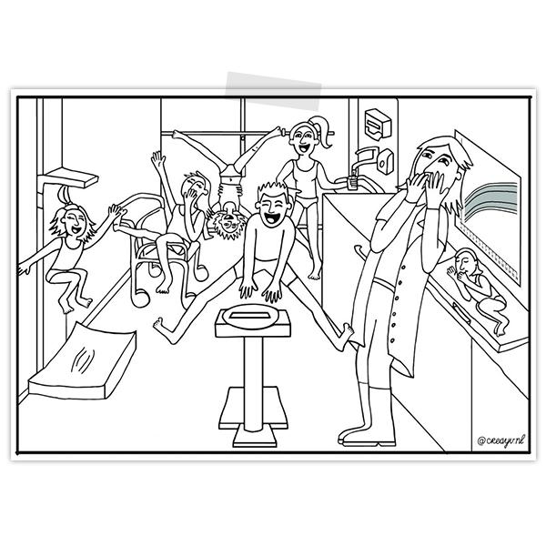 Kleurplaat van behandelkamer afdeling endocrinologie met vier spelende kinderen