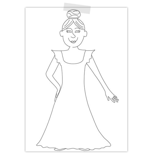 Kleurplaat van een prinses zonder accessoires