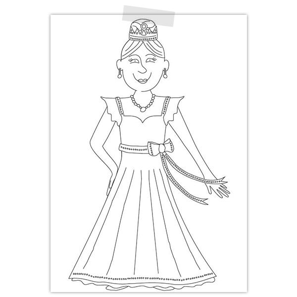 Kleurplaat van een prinses