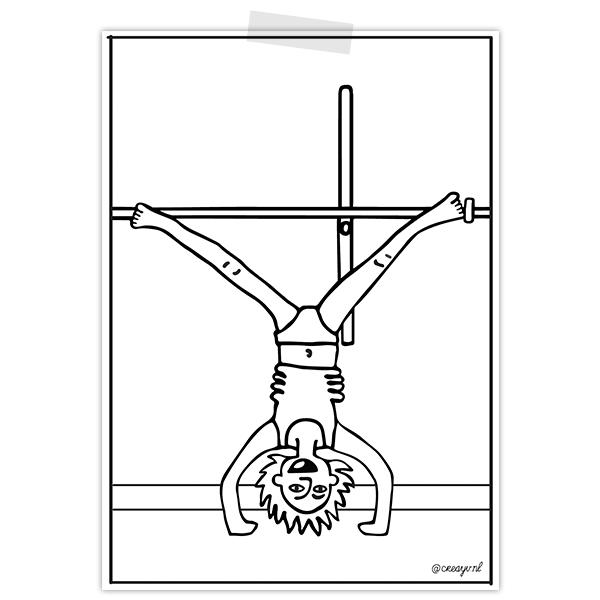 Kleurplaat van jongen in behandelkamer afdeling endocrinologie die handstand doet tegen meetaparaat
