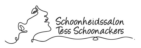 Logo schoonheidssalon Tess Schoonackers met gezicht als zwarte lijn