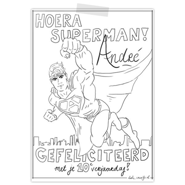 Persoonlijke kleurplaat voor de voedselbank Veldhoven met superman