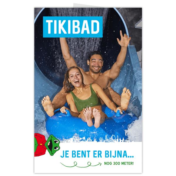 Poster Duinrell Je bent er bijna met gillende volwassenen van glijbaan Tikibad