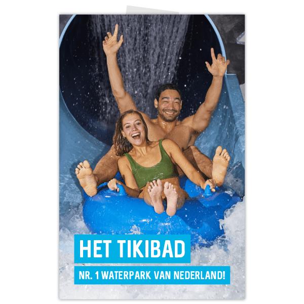 Poster Duinrell voor Tikibad met gillende volwassenen van glijbaan Tikibad