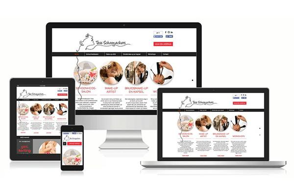 Website Tess Schoonackers op diverse devices