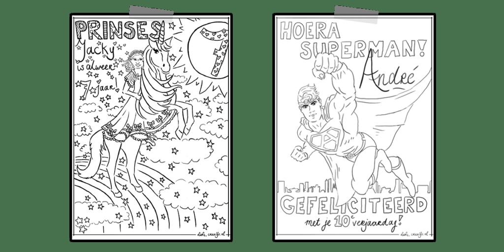 Kleurplaten superman en prinses op unicorn voor voedselbank Veldhoven Fay traktaties